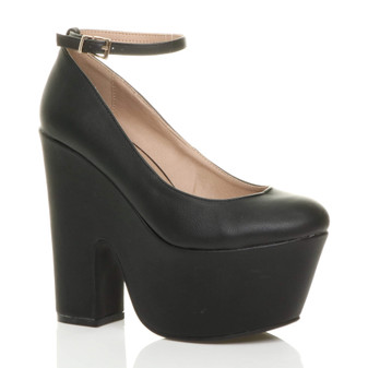 Front right side view of Black PU High Heel Ankle Strap Platform Shoes