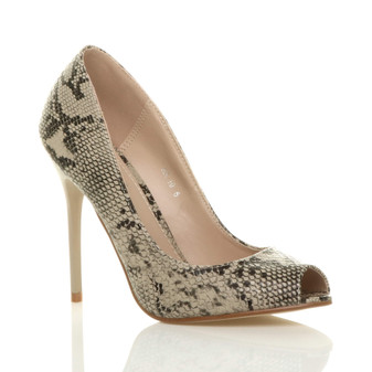 Front right side view of Beige Snake PU High Heel Stiletto Peep Toe Court Shoes Sandals