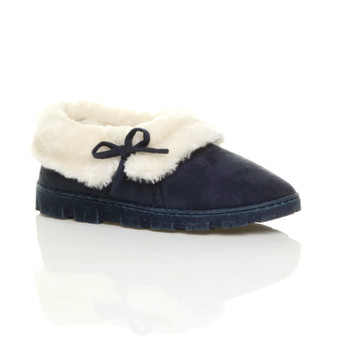 Front right side view of Navy Suede Fur Lined Winter Luxury Ankle Boots Slipper Booties