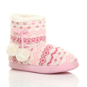 Front right side view of Pink Fairisle Knit Fur Lined Winter Ankle Boots Slippers Booties