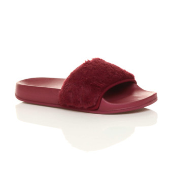 Front right side view of Burgundy Fur Flat Faux Fur Sandals Sliders
