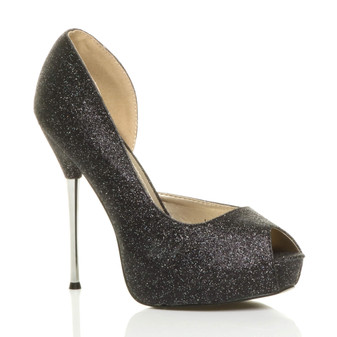 Front right side view of Black Glitter High Heel d'Orsay Platform Peep Toe Court Shoes