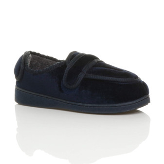 Front right side view of Navy Orthopaedic Memory Foam Wide Fit Slippers
