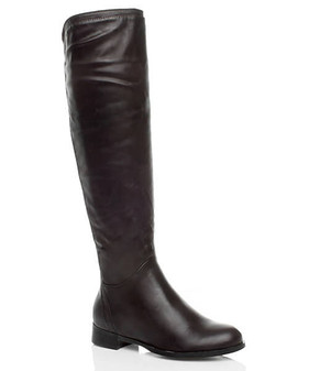 Front right side view of Black PU Low Heel Stretch Gusset Riding Knee Boots