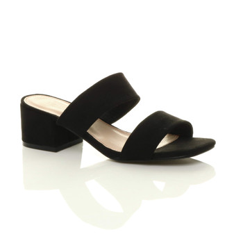 Front right side view of Black Suede Mid Block Heel Slip On Casual Flip Flop Strappy Mules Sandals
