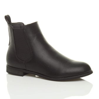 Front right side view of Black PU Low Heel Stretch Chelsea Ankle Boots