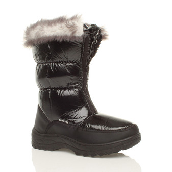 Front right side view of Black Low Heel Padded Winter Snow Calf Boots