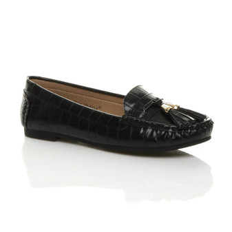 Front right side view of Black Croc PU Flat Low Heel Tassel Casual Work Moccasins Loafers Shoes