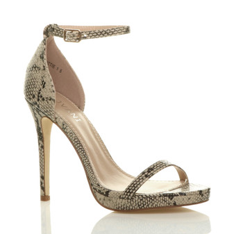 Front right side view of Beige Snake PU High Heel Ankle Strap Barely There Sandals