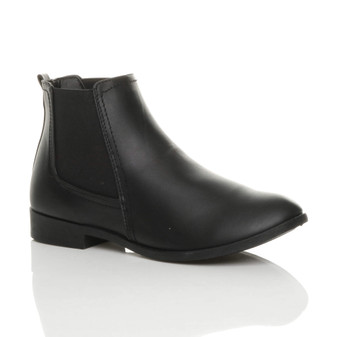 Front right side view of Black PU Low Heel Chelsea Ankle Boots