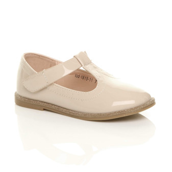 Front right side view of Nude Patent Childrens Glitter Trim Mary Jane T-Bar Smart Shoes