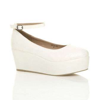 Front right side view of White PU Mid Heel Wedge Ankle Strap Flatform Platform Shoes
