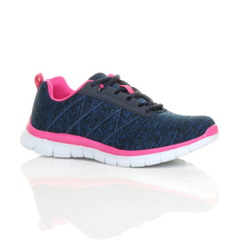 Front right side view of Navy / Fuchsia Flat Memory Foam Lace Up Trainers