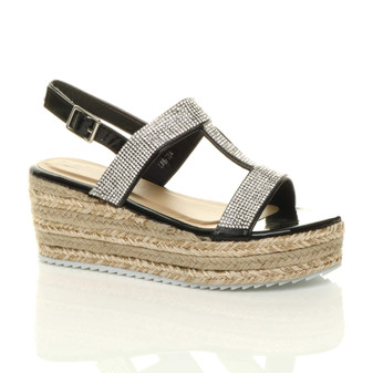 Front right side view of Black Suede Mid Wedge Heel Diamante Strappy T-Bar Platform Espadrille Sandals
