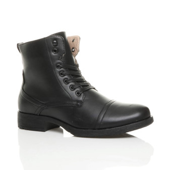 Front right side view of Black PU Low Heel Army Biker Military Ankle Boots