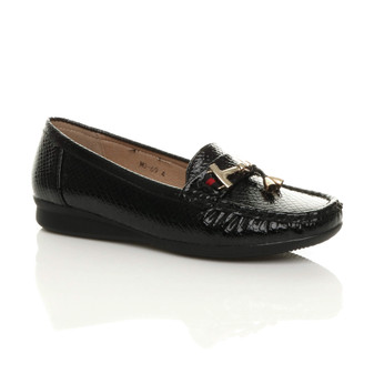 Front right side view of Black PU Low Heel Wedge Moccasins Tassel Gold Bar Loafers Comfort Shoes