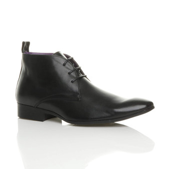 Front right side view of Black PU Pointed Toe Oxford Shoes Ankle Boots