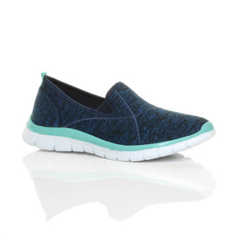 Front right side view of Navy / Mint Flat Memory Foam Slip On Trainers