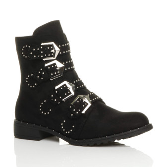 Front right side view of Black Suede Flat Low Heel Studded Buckle Biker Boots