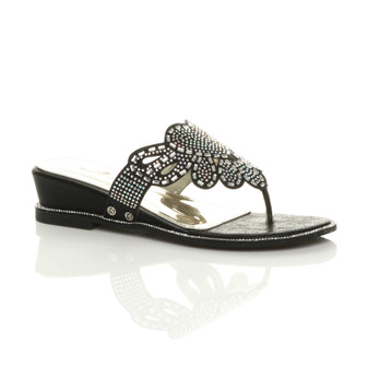 Front right side view of Black PU Low Wedge Heel Toe Post Diamante Sandals Mules