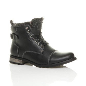 Front right side view of Black PU Low Heel Fur Trim Biker Military Ankle Boots