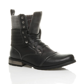 Front right side view of Black PU Low Heel Fold Over Padded Cuff Military Ankle Boots