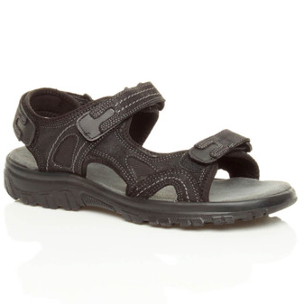 Front right side view of Black Flat Low Heel Adjustable Sandals