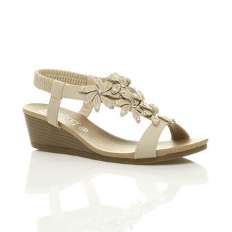 Front right side view of Beige PU Mid Heel Wedge Flower Diamante Slingback Sandals