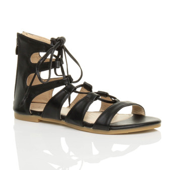 Front right side view of Black PU Flat Lace Up Ghillie Tie Up Sandals