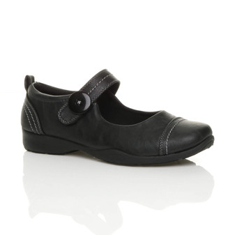 Front right side view of Black PU Mary Jane Strap Comfort Shoes
