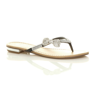 Front right side view of Black PU Flat Diamante Bow Flip Flop Sandals