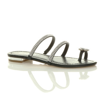 Front right side view of Black PU Flat Toe Ring Diamante Flip Flop Sandals