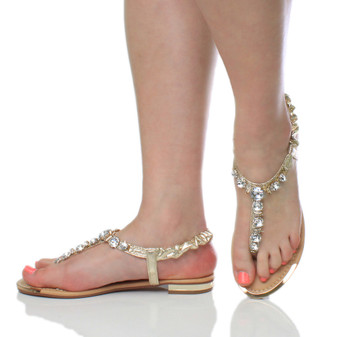 Model wearing Gold PU Flat Slingback Diamante T-Bar Toe Post Sandals