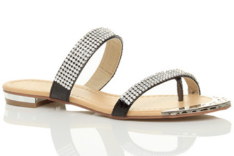Front right side view of Black PU Flat Strappy Diamante Toe Post Flip Flops Sandals