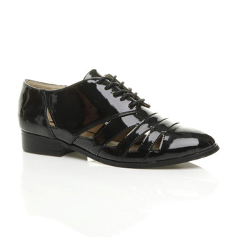 Front right side view of Black Patent Low Heel Cut Out Oxford Shoes Brogues