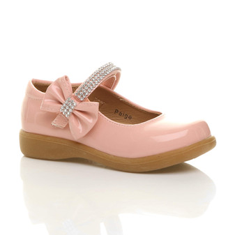 Front right side view of Baby Pink Patent Low Heel Diamante Bow Mary Jane Shoes