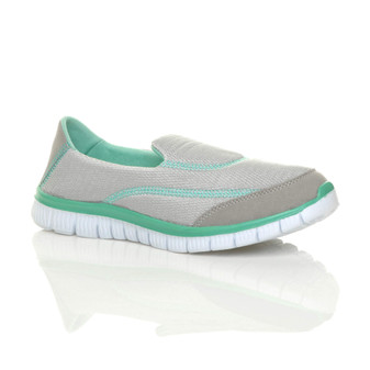 Front right side view of Grey Memory Foam Trainers Sneakers