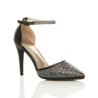Front right side view of Black High Heel Diamante Pointed Court Shoes