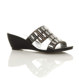 Front right side view of Black Mid Heel Wedge Diamante Mules Sandals