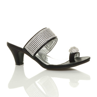 Front right side view of Black Mid Heel Toe Ring Diamante Mules Sandals