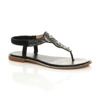Front right side view of Black Low Wedge Heel Flat T-Bar Diamante Toe Post Slingback Sandals