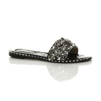 Front right side view of Black PU Flat Diamante Studded Flip Flops Sandals