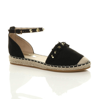 Front right side view of Black PU Flat Flower Studded Beach Sandals Espadrilles