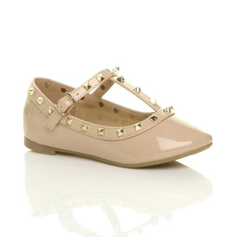 Front right side view of Beige Patent Studded T-Bar Ballet Flats Ballerina Shoes
