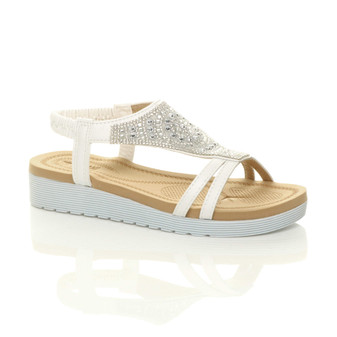 Front right side view of White Low Wedge Heel Comfort Flatform Diamante T-Bar Slingback Sandals