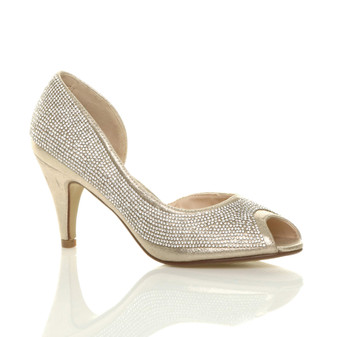Front right side view of Gold High Heel d'Orsay Peep Toe Diamante Court Shoes