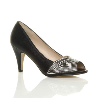 Front right side view of Black High Heel Peep Toe Diamante Court Shoes