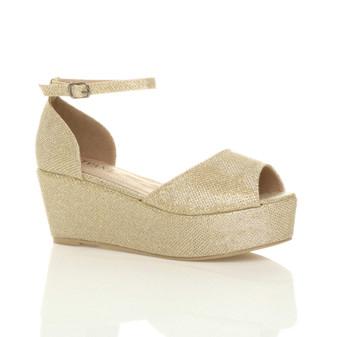 Front right side view of Gold Glitter Mid Heel Wedge Flatform Platform Sandals