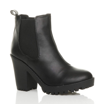 Front right side view of Black PU High Heel Platform Chelsea Ankle Boots