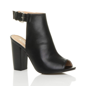 Front right side view of Black PU High Heel Peep Toe Ankle Boots Mules